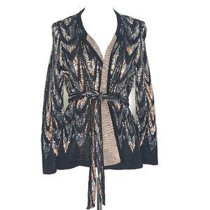 BCBGMaxAzria Black Silk Open Cardigan A010625